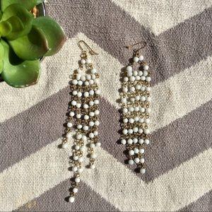 Urban Outfitters white beaded chandelier earrings